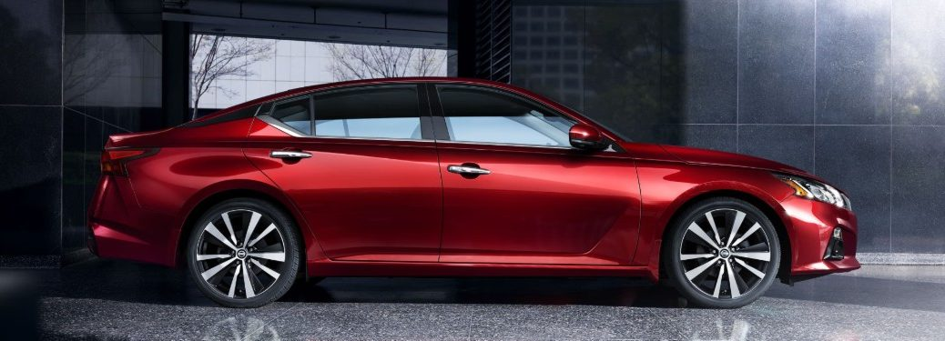 Passenger angle of a red 2020 Nissan Altima