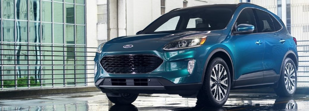 Front driver angle of a blue 2020 Ford Escape