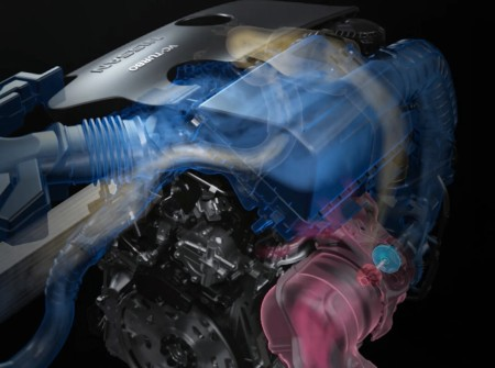 VC-Turbo engine for the 2020 Nissan Altima with colored graphics on it