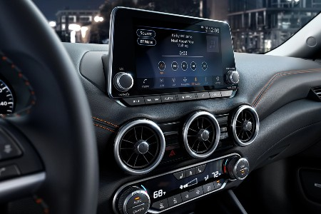 Close up of the touchscreen display and climate control system in the 2020 Nissan Sentra