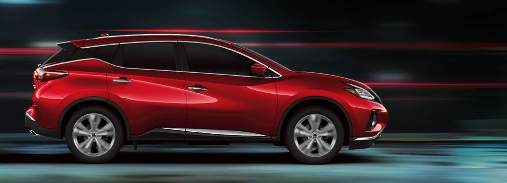Passenger angle of a red 2020 Nissan Murano