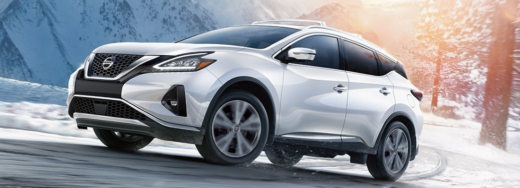 2021 Nissan Murano driving on a snow-covered road
