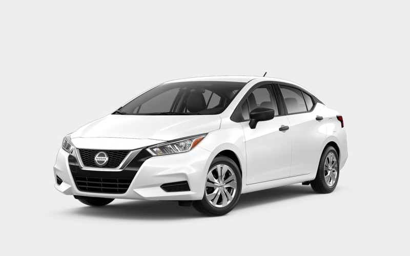 Front driver angle of the 2020 Nissan Versa in Aspen White Tricoat color