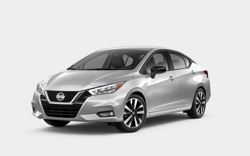 Front driver angle of the 2020 Nissan Versa in Brilliant Silver Metallic color