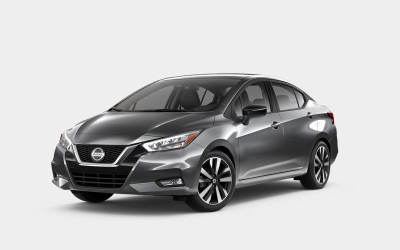 Front driver angle of the 2020 Nissan Versa in Gun Metallic color