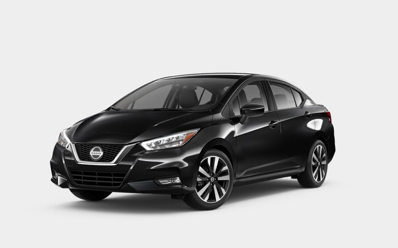 Front driver angle of the 2020 Nissan Versa in Super Black color