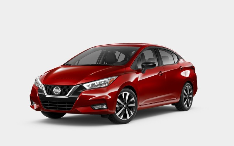 Front driver angle of the 2020 Nissan Versa in Scarlet Ember Tintcoat
