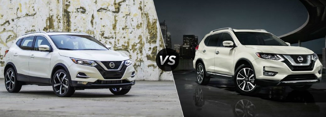 White 2020 Nissan Rogue Sport on left VS white 2020 Nissan Rogue on right