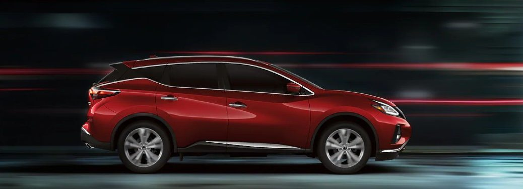 Passenger angle of a red 2021 Nissan Murano