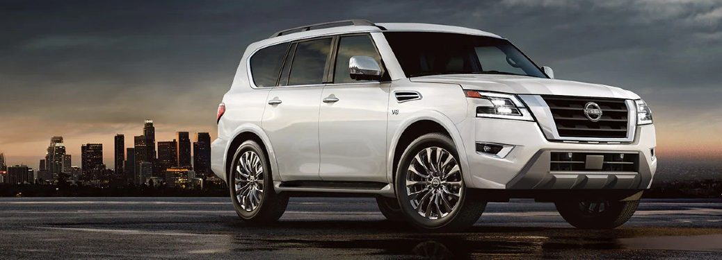 Front passenger angle of a white 2022 Nissan Armada