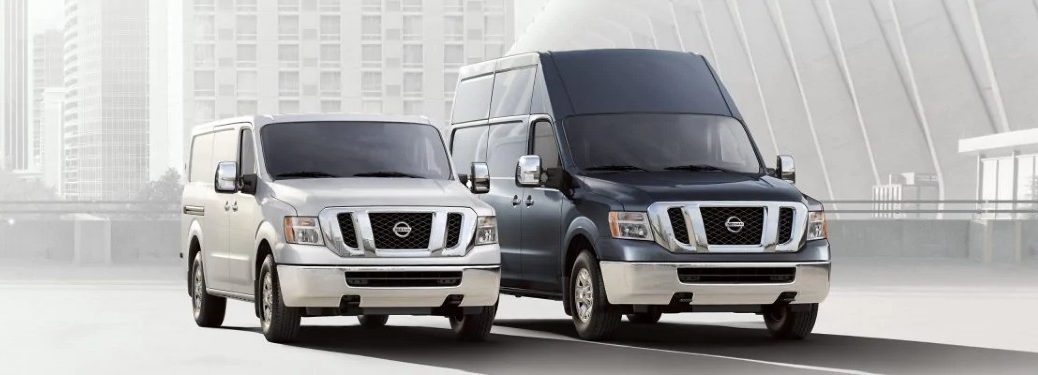 Two 2020 Nissan NV2500 HD vehicles parked next to each other