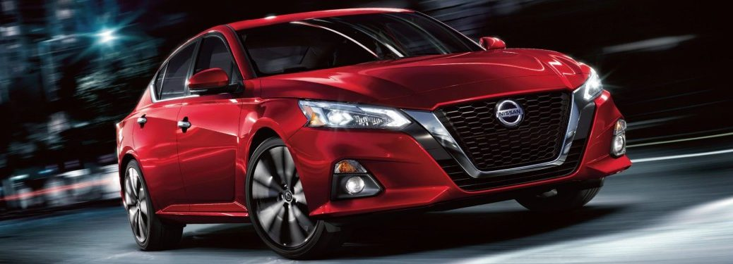 Front passenger angle of a red 2020 Nissan Altima