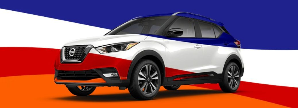 Graphic showing the 2020 Nissan Kicks in a variety of colors