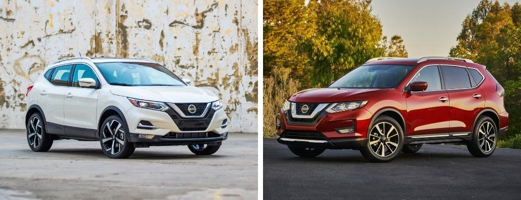 2020 Nissan Rogue Sport in white and 2020 Nissan Rogue in red