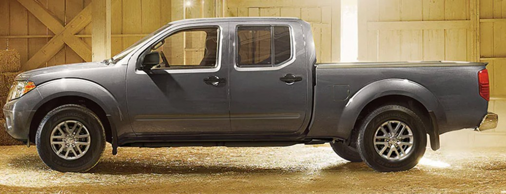 A 2021 Nissan Frontier parked inside a building