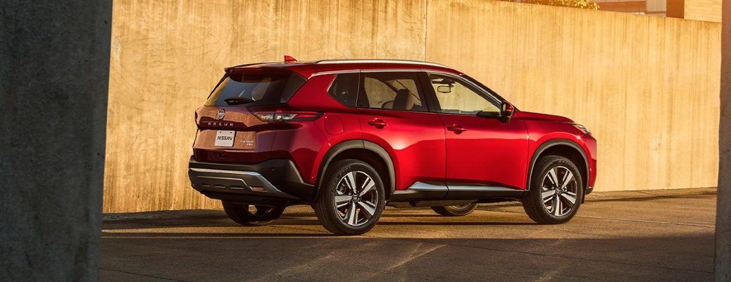 2021 Nissan Rogue side view on a road