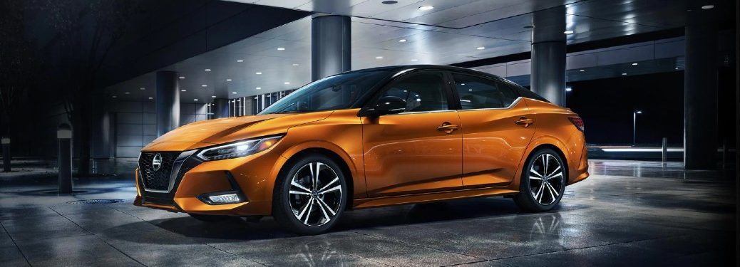 Front driver angle of an orange 2020 Nissan Sentra