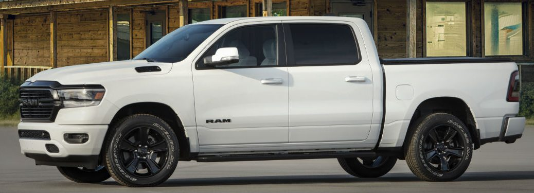 side view of a white 2020 Ram 1500