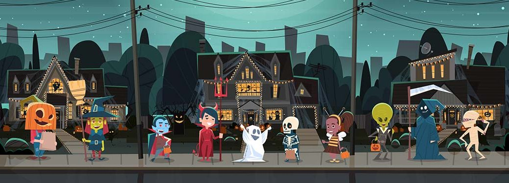 cartoon Halloween scene with kids in constumes