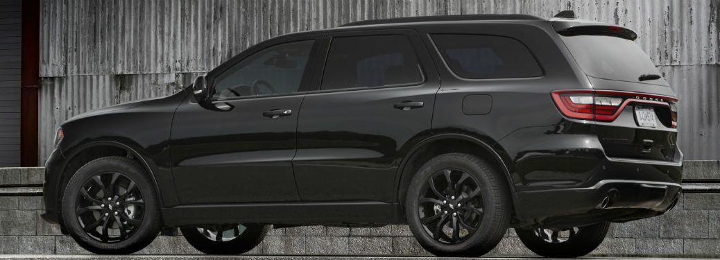 side view of a black 2020 Dodge Durango