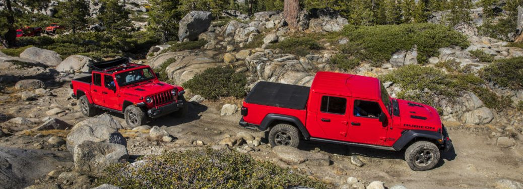 side view of two read 2020 Jeep Gladiator models