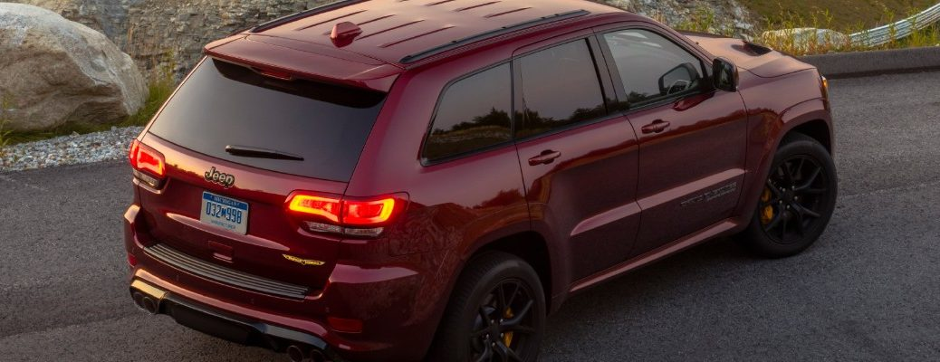 high angle rear view of a red 2020 Jeep Grand Cherokee