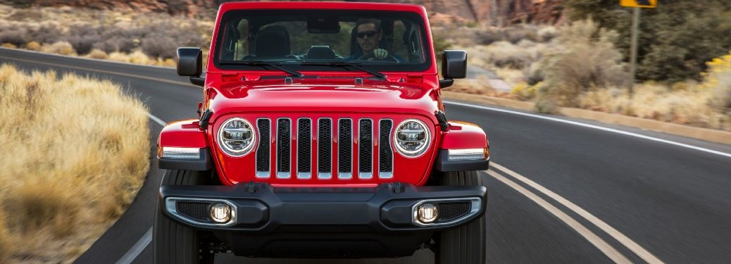 front view of a red 2020 Jeep Wrangler