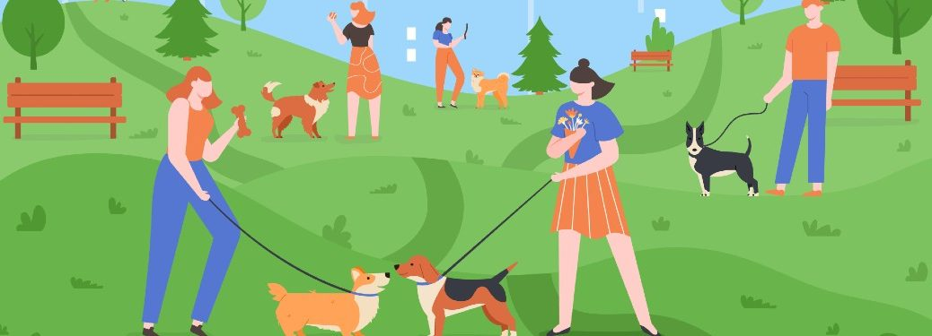 cartoon rendering of people at a park