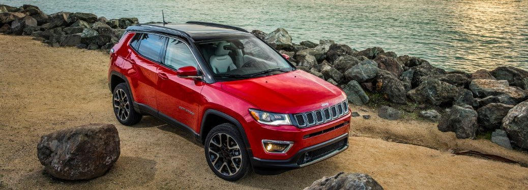 side view of a red 2020 Jeep Compass