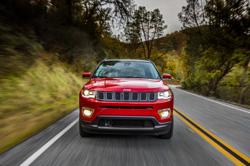 front view of a red 2021 Jeep Compass