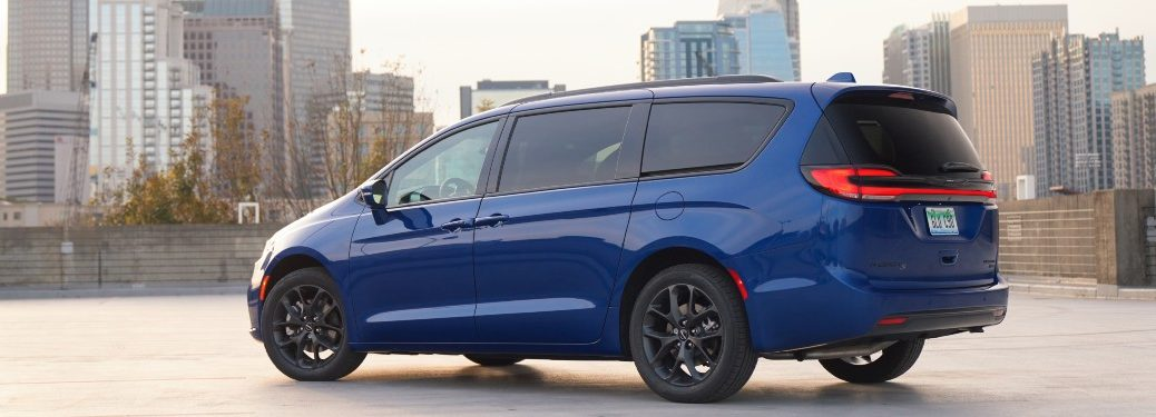 side view of a blue 2021 Chrysler Pacifica