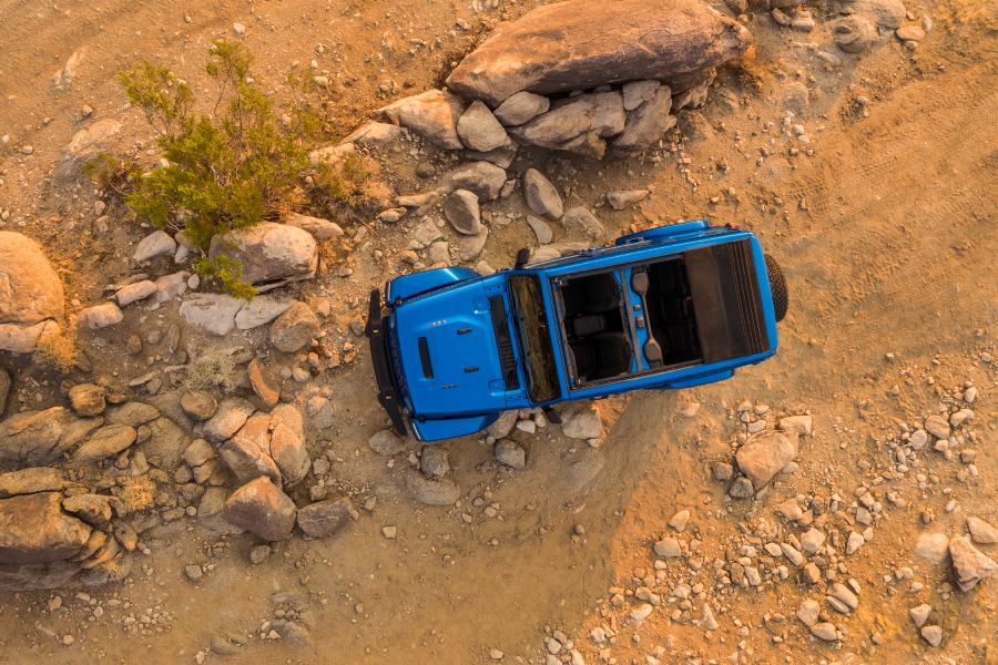 aerial view of a blue 2021 Jeep Wrangler Rubicon 392