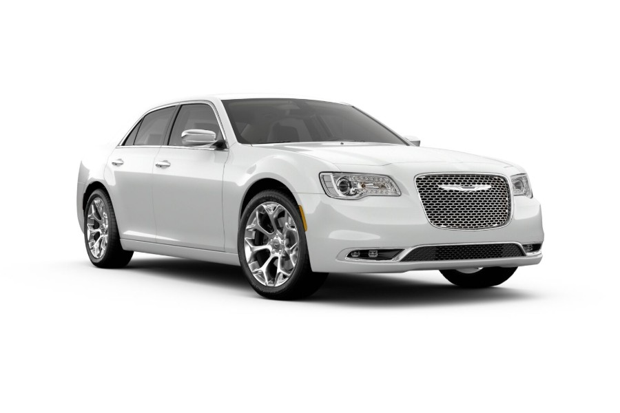 Front passenger angle of the 2019 Chrysler 300 in Bright White color