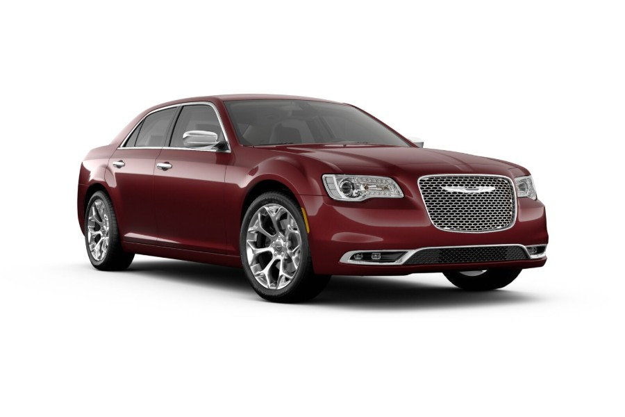 Front passenger angle of the 2019 Chrysler 300 in Velvet Red color