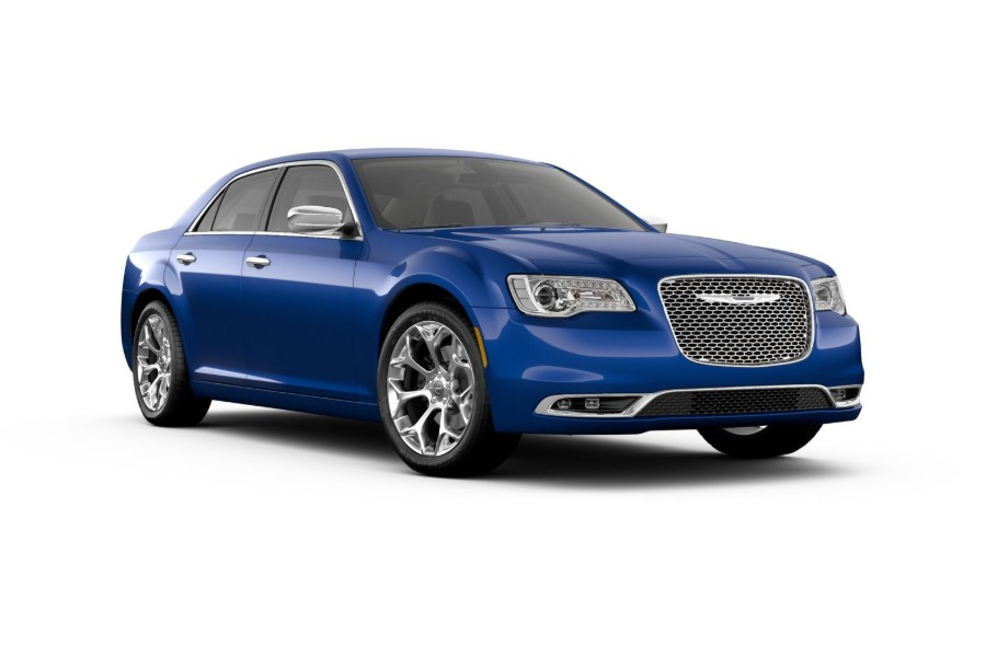 Front passenger angle of the 2019 Chrysler 300 in Ocean Blue Metallic Clear-Coat color