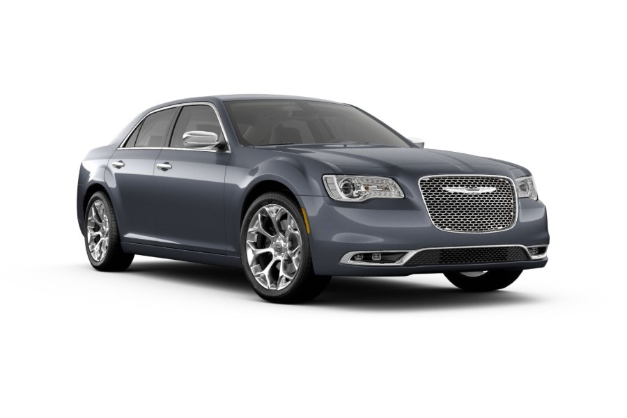 Front passenger angle of the 2019 Chrysler 300 in Maximum Steel color