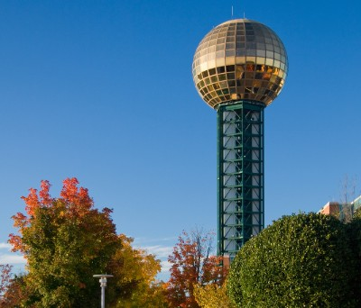 Sunsphere in Knoxville, TN behind trees