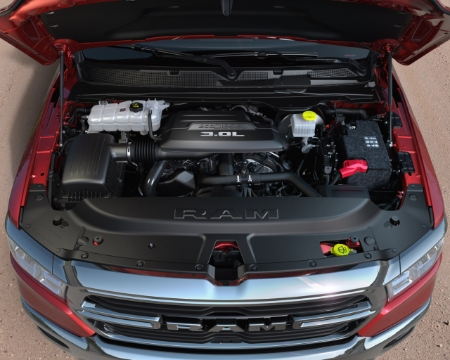engine bay of the 2020 ram 1500 ecodiesel