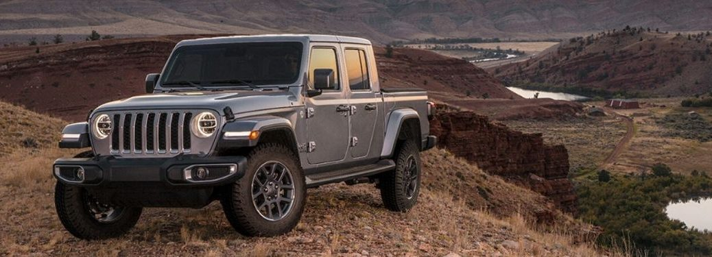 2020 Jeep Gladiator on a cliff from exterior front driver side angle_o