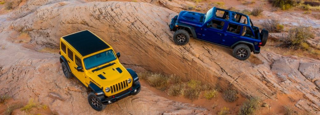 yellow and blue jeep wrangler with ecodiesel engines