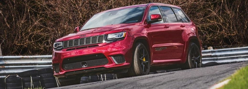 Red 2020 Jeep Grand Cherokee on a Track