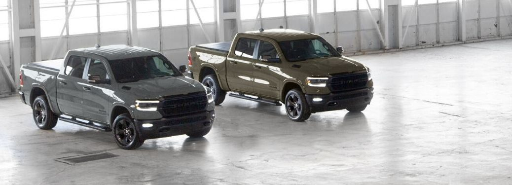 Gray and Green 2020 Ram 1500 Built to Serve Editions in an Aircraft Hangar
