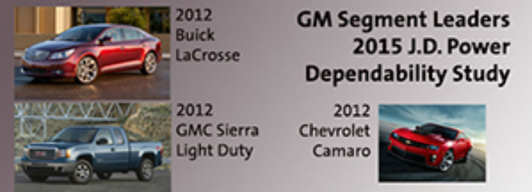 GM Brands Recognized in J D  Power Vehicle Dependability Study