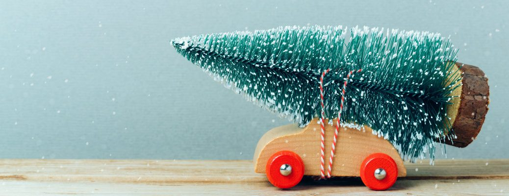 a tiny wooden car with a small snow covered Christmas tree tied and strapped to its hood