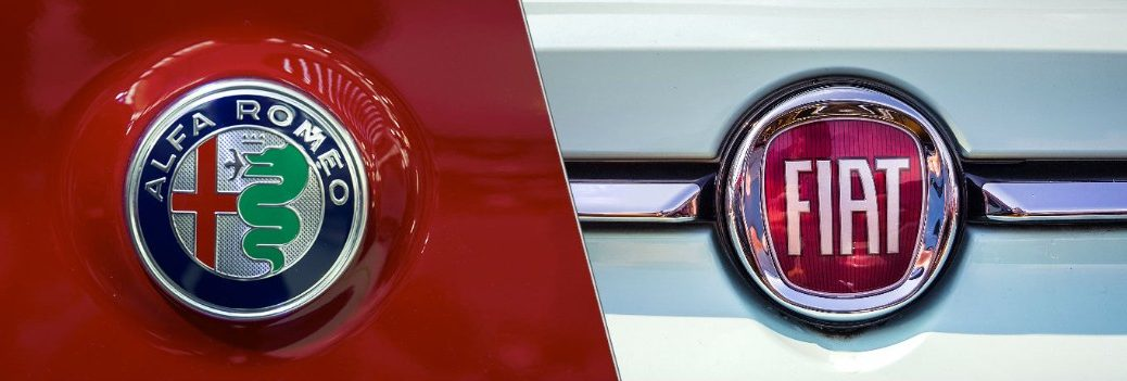 Alfa Romeo and Fiat badges side by side