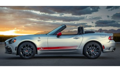 2020 Fiat 124 Spider Abarth Scorpion Sting appearance group exterior side shot with accents and side strip with a setting sun background