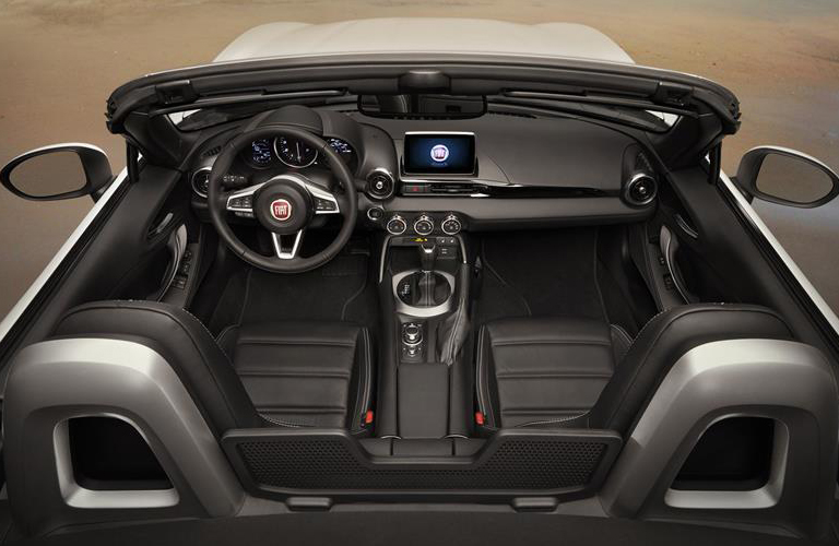 Looking into front two seats of Fiat 124 Spider