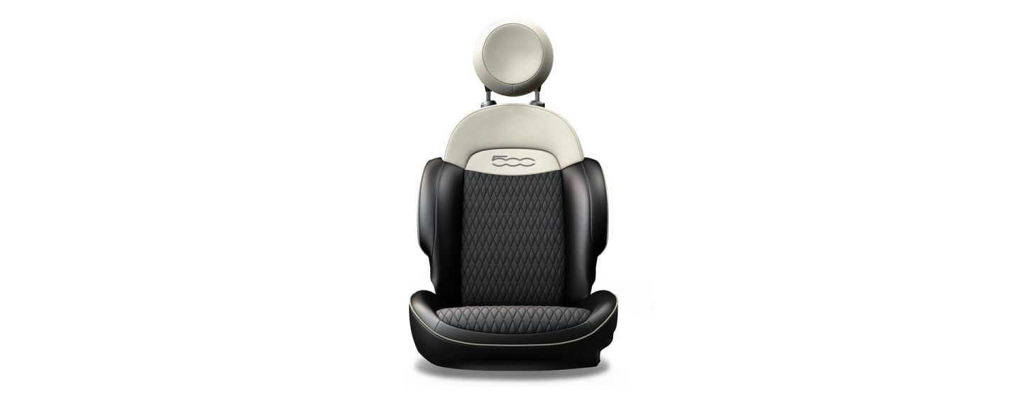2020 Fiat 500X Premium Black Avorio Leatherette with 3-D Quilted Melange and Ivory Details