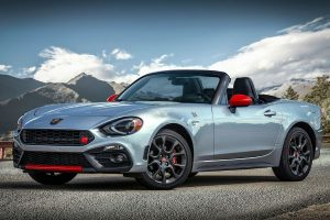 2020 Fiat 124 Spider Abarth in front of mountains