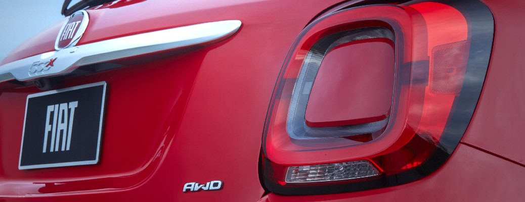 2020 Fiat 500X exterior rear shot closeup of model and AWD badging and taillight design
